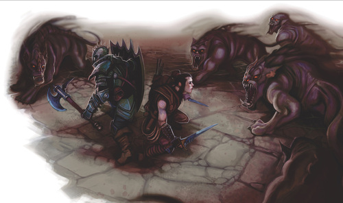 shadow hound Mastini Ombra (in 4a ed.) in caccia - by William O'Connor Dungeon Master's Guide (2008-06) © Wizards of the Coast & Hasbro