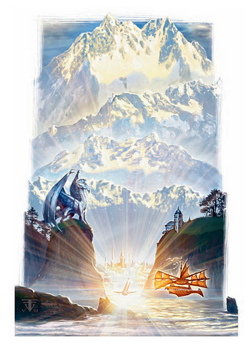 lunia mount Celestia - by Franz Vohwinkel Manual of the Planes (2008-12) © Wizards of the Coast & Hasbro