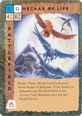 "mount celestia ""Nectar of Life"", il reame di Bahamut - by Newt Ewell TSR - ""Blood Wars"" card game Base Escalation Pack 3, Powers & Proxies (1995) © Wizards of the Coast & Hasbro"
