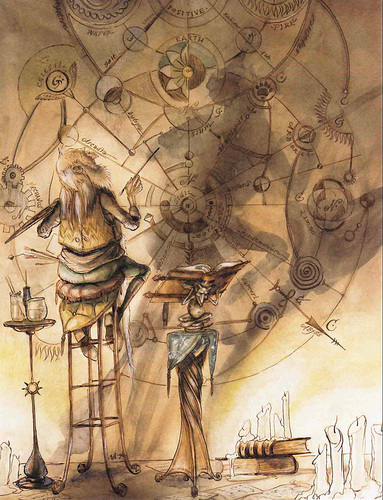 planescape illustration Studio dei Piani - by Tony Diterlizzi TSR The Planewalker's Handbook (1996) © Wizards of the Coast & Hasbro
