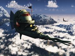 """nautiloid fanart illithid """"Nautiloid Peaks"""", fanart 3D render - by Silverblade-T-E www.graffe.com (2006-11) © dell'artista"""