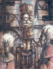 {$tags} Un nonatone in compagnia di alcuni dabus - by Tony Diterlizzi TSR - Planescape adventure - Doors to the Unknown (1996-11) © Wizards of the Coast & Hasbro