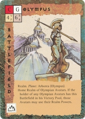 "arborea ""Olympus"", il reame olimpico - by Newt Ewell TSR - ""Blood Wars"" card game Base Escalation Pack 3, Powers & Proxies (1995) © Wizards of the Coast & Hasbro"