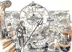 {$tags} La città di Elshava su Ossa - by Adam Rex TSR - Dead Gods (1997-10) © Wizards of the Coast & Hasbro