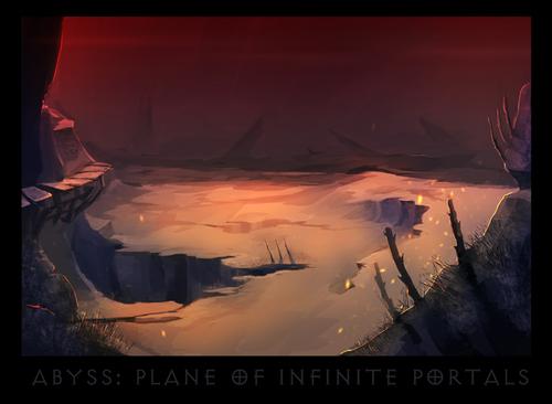 """ronamis """"Abyss - Plane of Infinite Portals"""", cartolina dei Piani Esterni - by ronamis (Michael Malkin) ronamis.deviantart.com (2013) © dell'autore tutti i diritti riservati"""