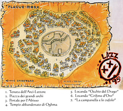 {$tags} Mappa della città di Plague-Mort TSR - A Player's Primer to the Outlands (1995) © Wizards of the Coast & Hasbro