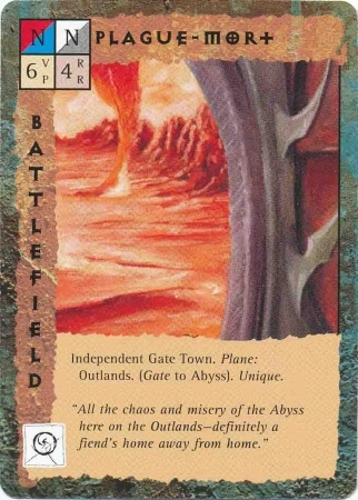 "outlands gate-town ""Plague-Mort"" - by Dana Knutson TSR - ""Blood Wars"" card game Base Escalation Pack 3, Powers & Proxies (1995) © Wizards of the Coast & Hasbro"