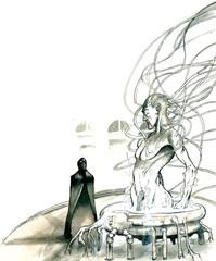 """primus modron tenebrous Una figura """"tenebrosa"""" al cospetto di Primus - by Adam Rex TSR - Planescape adventure - The Great Modron March (1997-09) © Wizards of the Coast & Hasbro"""