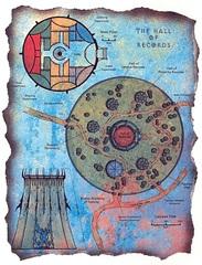 """hall of records map sigil Schema della Sala dei Registri - by David S. """"Diesel"""" LaForce e Dana Knutson TSR - The Factol's Manifesto (1995-06) © Wizards of the Coast & Hasbro"""