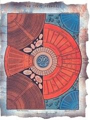 """civic festhall map sigil Schema della Sala delle Feste - by David S. """"Diesel"""" LaForce e Dana Knutsoni TSR - The Factol's Manifesto (1995-06) © Wizards of the Coast & Hasbro"""