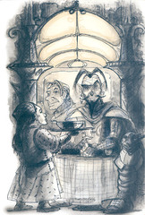 "{$tags} ""La Susina"" vicino alla Sala delle Feste - by Tony Diterlizzi TSR - Planescape Campaign Setting box (1994-04) © Wizards of the Coast & Hasbro"