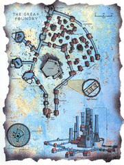 "great foundry map lower ward Schema della Grande Fonderia - by David S. ""Diesel"" LaForce e Dana Knutson TSR - The Factol's Manifesto (1995-06) © Wizards of the Coast & Hasbro"