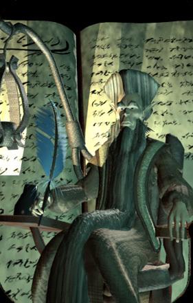 dustmen Il Registro dei Morti e il vecchio polveroso githzerai Dhall Videogame: Planescape Torment (1999) © Black Isle Studios, Wizards of the Coast & Hasbro
