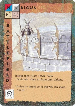 "outlands gate-town ""Rigus"" - by Dana Knutson TSR - ""Blood Wars"" card game Base Pack (1995) © Wizards of the Coast & Hasbro"