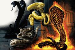fire snake Deathrattle viper Crushgrip constrictor 1shadow snake Serpente di Fuoco e altri serpenti (serpente d'ombra, vipera sonagliomortale e costrittore morsaschiacciante) - by Ben Wootten Monster Manual (2008-06) © Wizards of the Coast & Hasbro