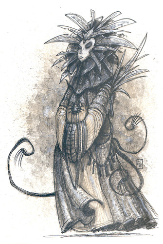 lady of pain art Sua Serenità la Signora del Dolore - by Tony Diterlizzi Planescape Campaign Setting, A DM Guide to the Planes (1994-04) © TSR