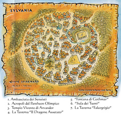 {$tags} Mappa della città di Sylvania TSR - A Player's Primer to the Outlands (1995) © Wizards of the Coast & Hasbro