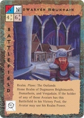 "outlands ""Dwarven Mountain"", La montagna nanica nelle Terre Esterne - by Dana Knutson TSR - ""Blood Wars"" card game Base Pack (1995) © Wizards of the Coast & Hasbro"