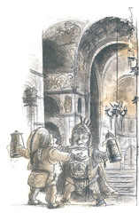 small dwarven mountain outlands strongale Le Sale della Birra della Montagna dei Nani - by Tony Diterlizzi