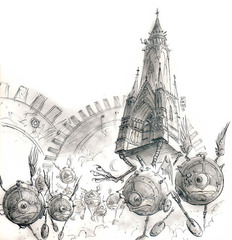 modron march moving castle outlands La Processione Modron e un castello errante delle Terre Esterne - by Tony Diterlizzi small