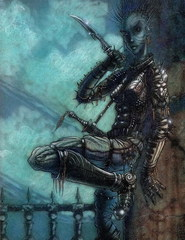 {$tags} Tiefling - by Tony Diterlizzi TSR - Hellbound, The Blood War (1996) © Wizards of the Coast & Hasbro