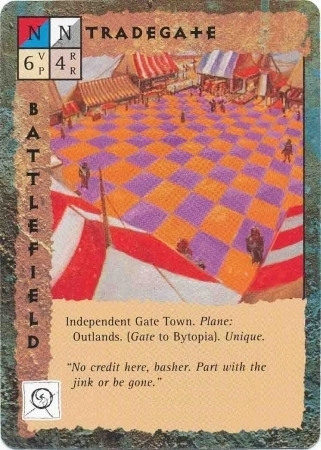 "outlands gate-town ""Tradegate"" - by Dana Knutson TSR - ""Blood Wars"" card game Base Pack (1995) © Wizards of the Coast & Hasbro"