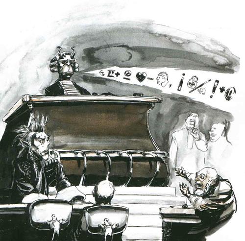 tiefling sigil Un dabus come giudice e Sly Nye come avvocato - by Adam Rex TSR - Faction War (1996-03) © Wizards of the Coast & Hasbro