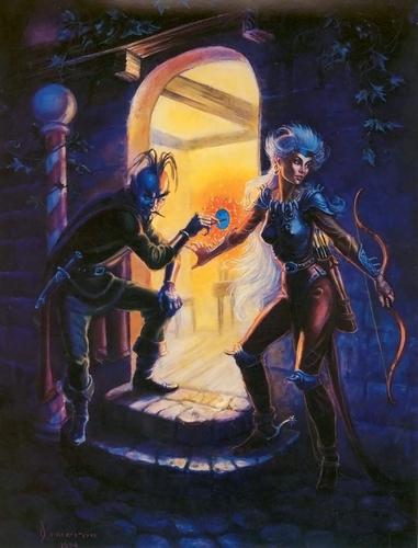 tiefling portal Apertura di un portale - by Ned Dameron TSR - In The Abyss (1994) © Wizards of the Coast & Hasbro