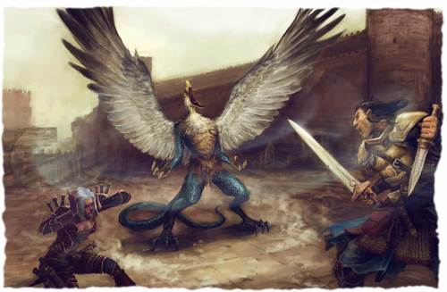 """tanar'ri """"Vrock Fignt"""" - by James Zhang Game Mastery Module - The Demon Within (2008) © PAIZO Publishing"""