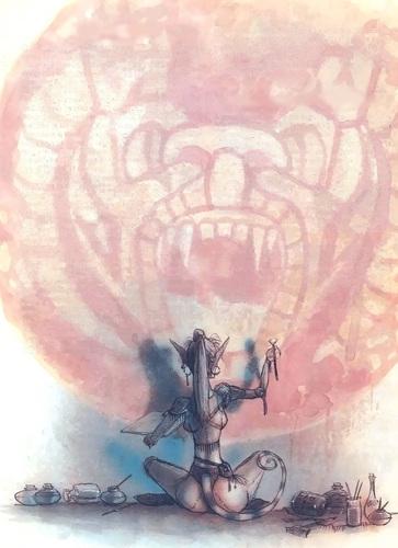{$tags} Xaositect Tiefling (scommetto che il dipinto è sul muro della **Torre della Viverna**!) - by Tony Diterlizzi TSR – The Factol's Manifesto (1995-06) © Wizards of the Coast & Hasbro